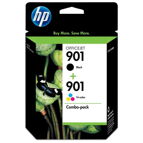 HP 901 Ink Cartridge Combo - Assorted, Cyan, Yellow, Magenta - Inkjet - 200 Page Black, 360 Page Color - 2 / Pack 0