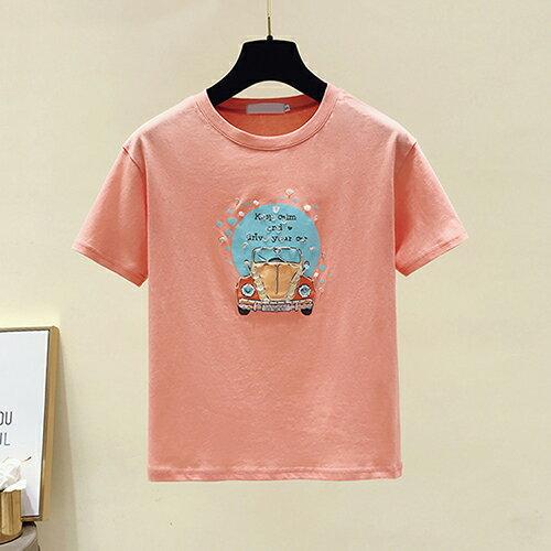 韓版印花寬鬆鑲鑽T恤(3色S~XL)【OREAD】 0
