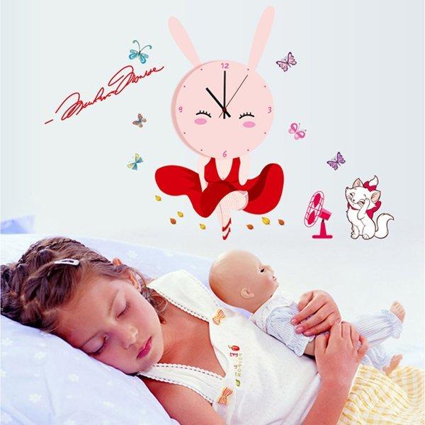 BO雜貨【YV0018】時鐘壁貼 兔女郎 兒童房教室裝潢佈置 牆貼壁紙貼紙