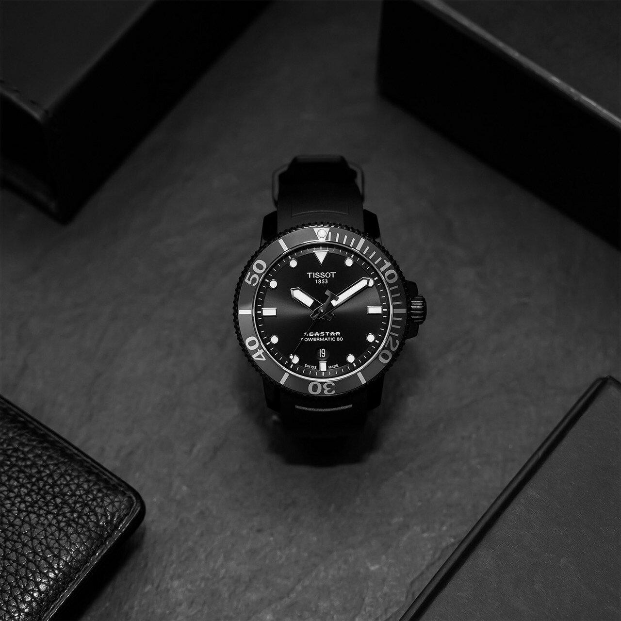 🔥火熱到貨🔥TISSOT 天梭錶 SEASTAR 1000海洋之星300米潛水機械錶T1204073705100 黑 / 43mm 4