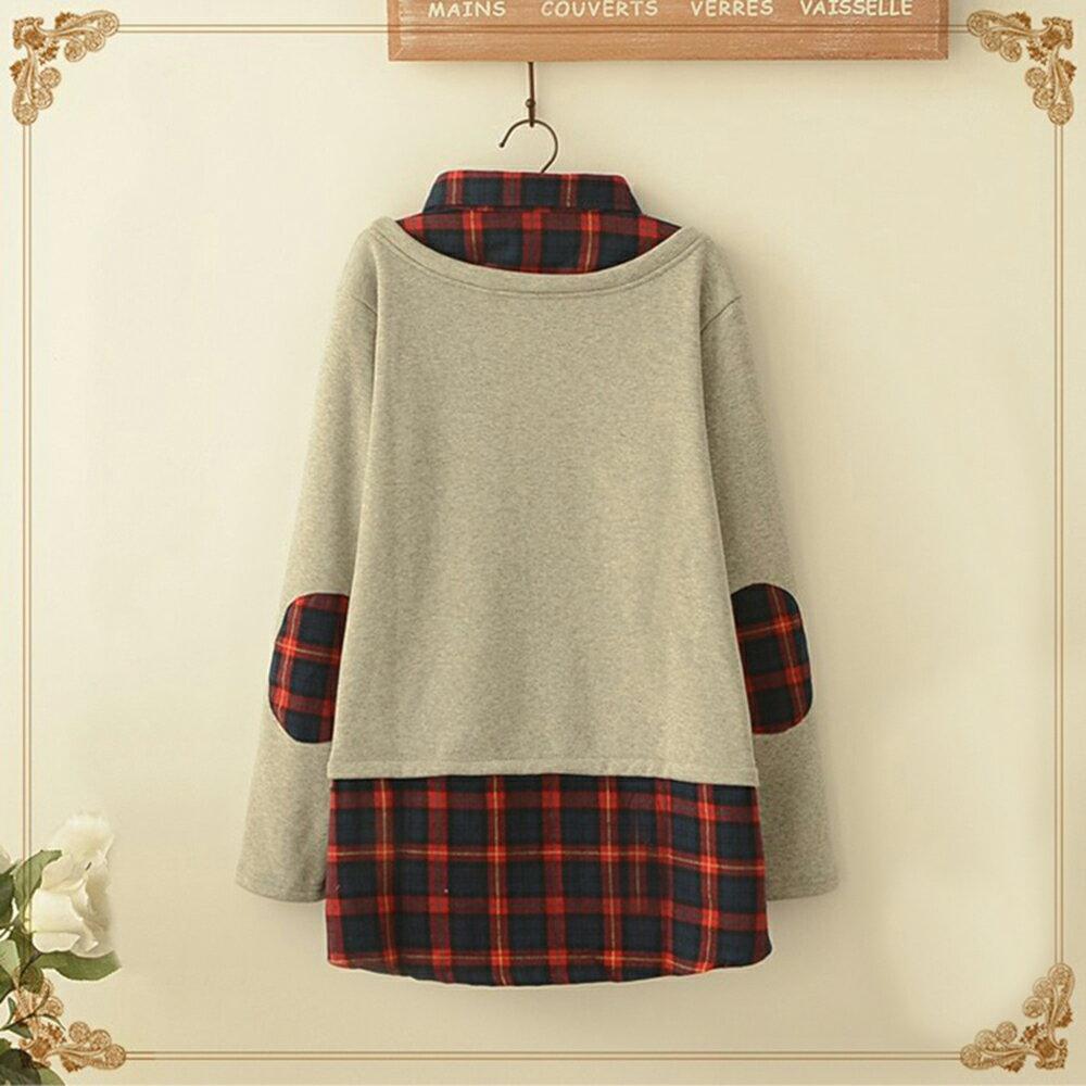 森系格子貓頭貼布繡假兩件加絨上衣 (淺灰色,M~4XL)【OREAD】 2
