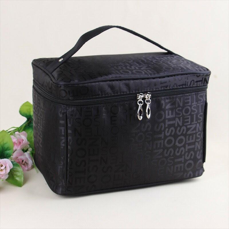 新款字母化妝包韓版時尚四方旅行手提收納-黑色