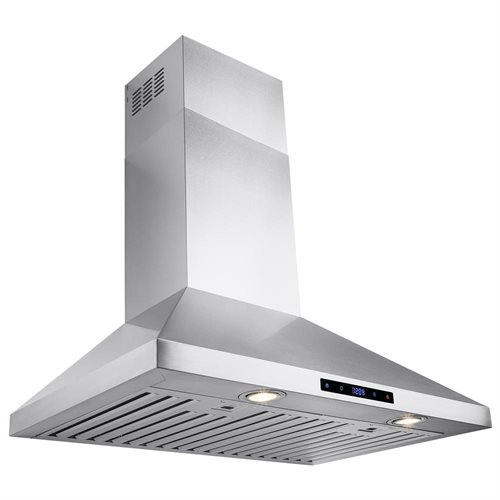"AKDY 30"" Stainless Steel Wall Mount Range Hood Touch Screen Display Light Lamp Baffle Filter 0"