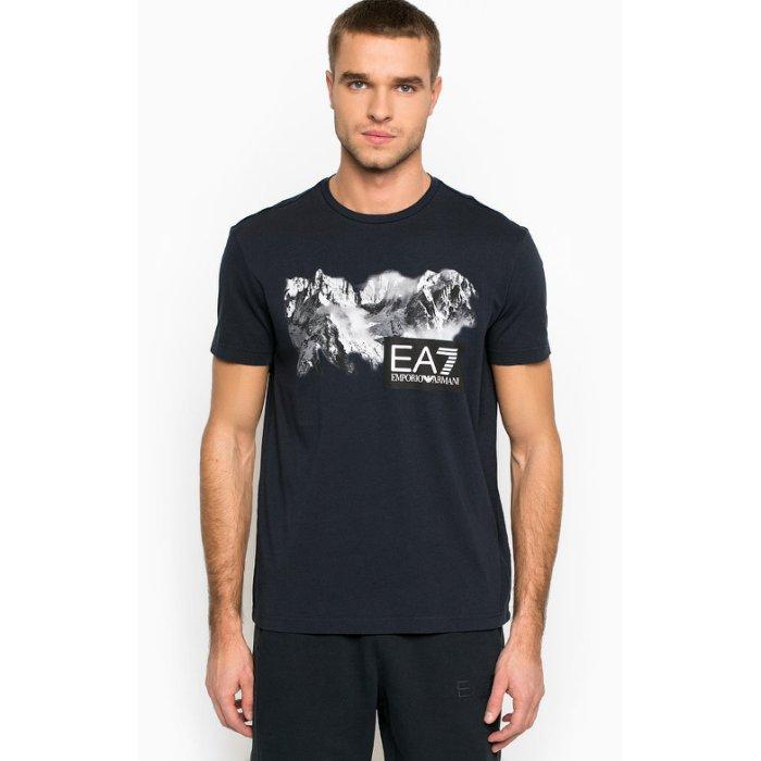 美國百分百【全新真品】Emporio Armani EA7 短袖 T恤 logo T-shirt 深藍 S號 H852