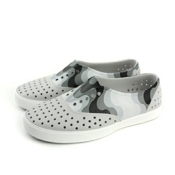 nativeMILLERBLOCK懶人鞋洞洞鞋防水雨天灰白男鞋11100202-8512no742