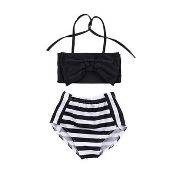 ins黑白條紋比基尼泳衣泳裝兩截式時尚個性歐美女童寶寶ANNAS.