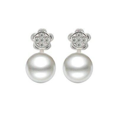 ~925純銀耳環鑲鑽耳飾~ 珍珠花卉母親節生日情人節 女飾品73dm210~ ~~米蘭 ~