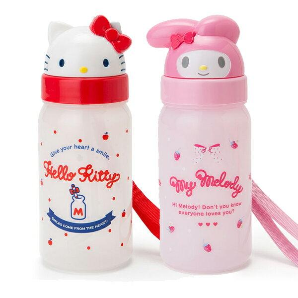〔小禮堂〕Hello Kitty 美樂蒂 造型吸管水壺附腕繩《大臉》350ml.兒童水壺.水瓶 0