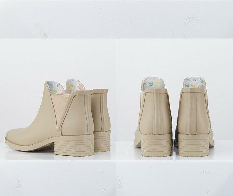LINAGI里奈子【S692189】韓國代購短筒橡膠雨鞋女成人啞光歐美防滑切爾西雨靴 4