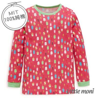 Little moni 純棉家居系列冰棒印圖兒童長袖上衣(玫瑰紅)
