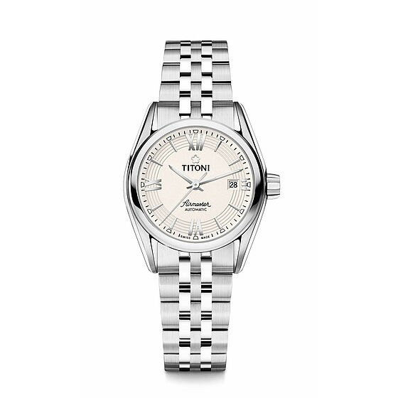 TITONI瑞士梅花錶23909S~342空中霸王雙色 機械腕錶  米白條紋面27mm