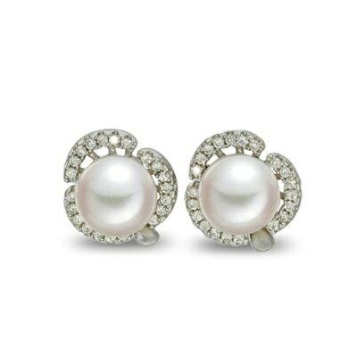 ~925純銀耳環鑲鑽耳飾~ 百搭花朵母親節生日情人節 女飾品73dm216~ ~~米蘭 ~