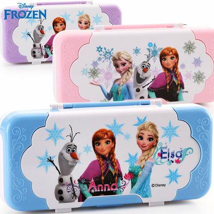 麻吉小舖:正版Disney迪士尼小學生文具鉛筆盒塑料筆盒卡通創意冰雪奇緣鉛筆盒
