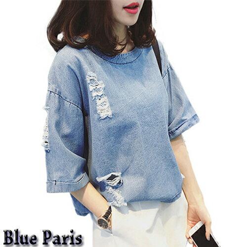 T恤 ~ 寬鬆破洞五分袖短版牛仔衫 學生上衣~28030~~2色~  ~ Blue Par