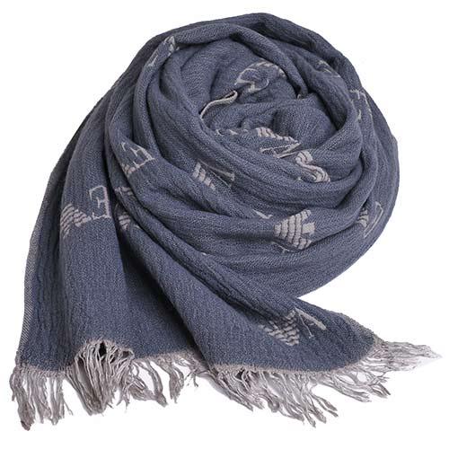 EMPORIO ARMANI 字母 LOGO 高質感羊毛混紡造型圍巾(灰)