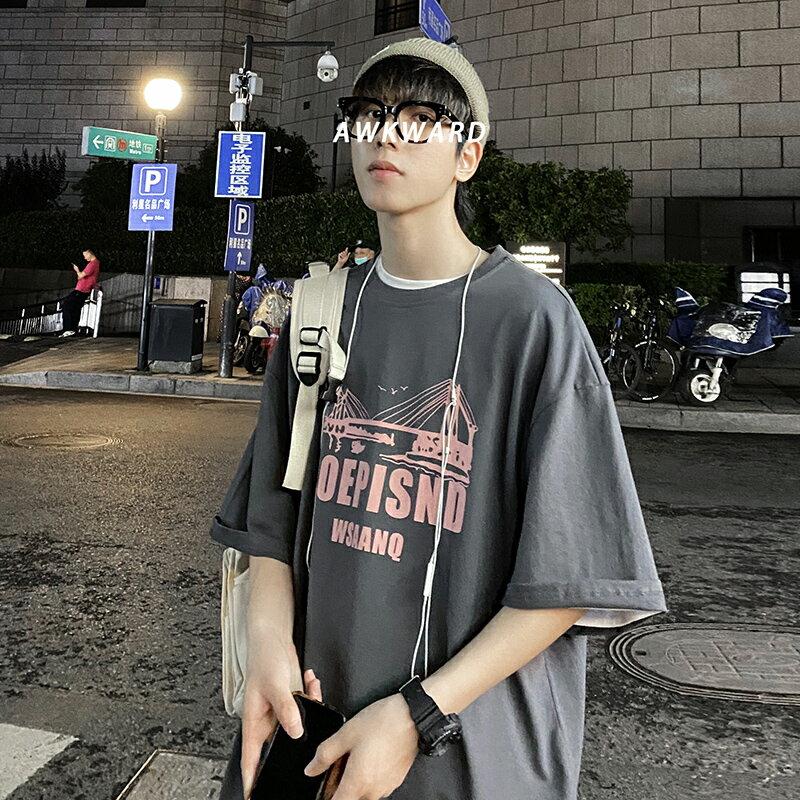 夏季短袖t恤男ins潮牌寬松2020新品半袖上衣韓版潮流休閑帥氣體恤