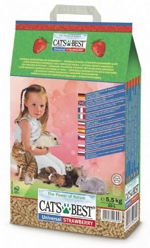 《德國凱優 CAT'S BEST》崩解型木屑粗砂(草莓香)10L / 木屑砂 / 貓砂 (超取僅限2包) 0