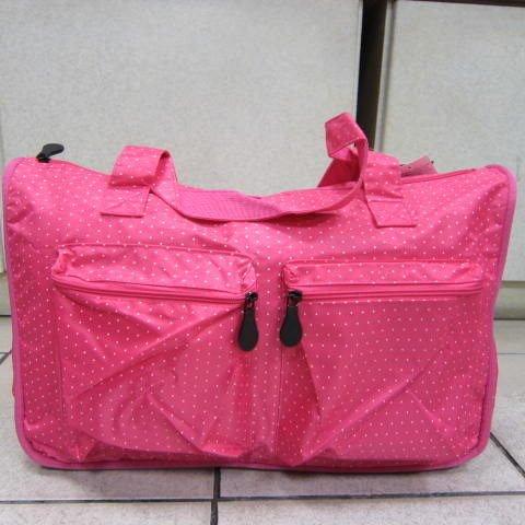 ~雪黛屋~X-TREME小點點可愛旅行袋防水尼龍布 超大購物袋大容量好收納不占空間65-2139桃紅
