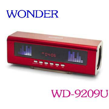 WONDER 旺德 USB/FM/MP3隨身音響 WD-9209U(三色) ◆支援16G容量USB裝置及32G容量TFMicro記憶卡播放 ◆可播放MP3音樂及FM收音機