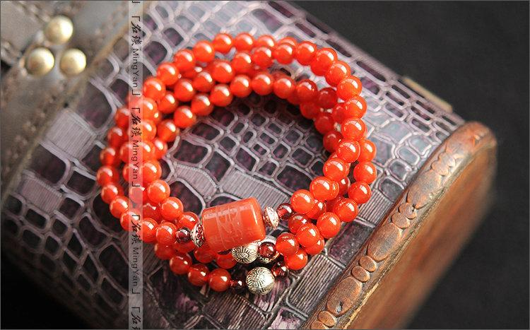 貴族味 紅瑪瑙手鏈 搭配藏銀 六字箴言 本命年 平安