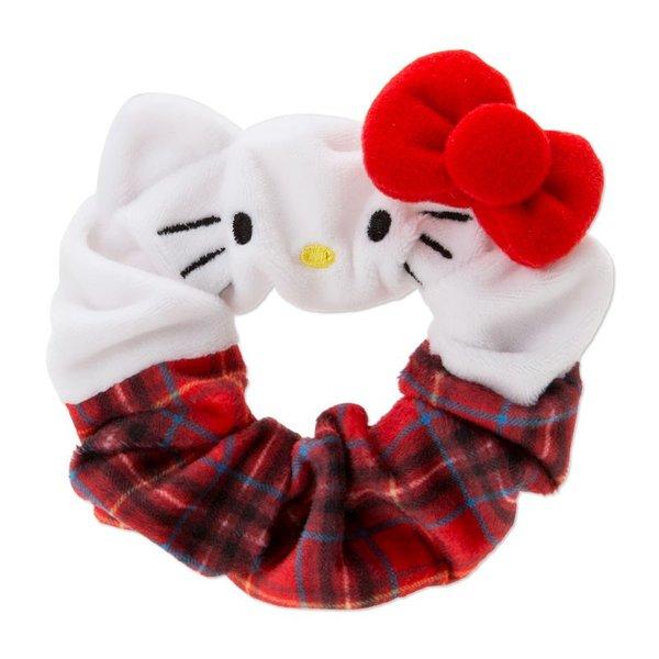 【真愛日本】18092100021造型大腸髮圈-KT大臉英倫格紅ADK凱蒂貓kitty髮圈髮束大腸圈髮飾