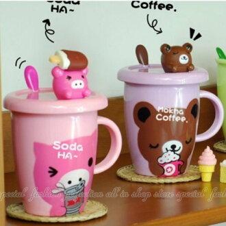 卡通動物頭蓋帶勺水杯 有蓋牛奶杯 情侶馬克杯大容量創意水杯 杯子【DV458】◎123便利屋◎