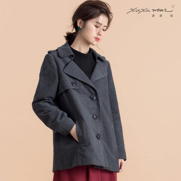 許許兒:許許兒∵煙燻冬日短大衣外套-灰藍