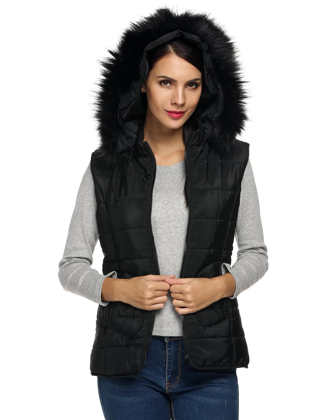 Women Sleeveless Detachable Hat Fur Collar Outwear 2