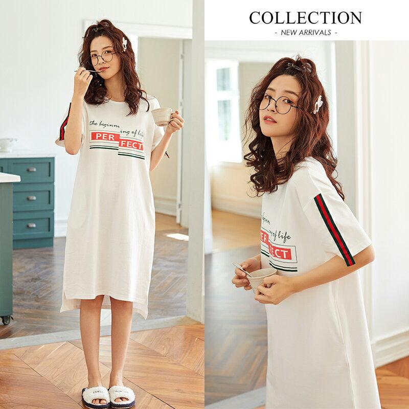 白色甜美短袖中長裙居家服- 純棉睡裙可外穿 M-XL【漫時光】(G073)  ▶99購物節 優惠碼:2009CP50 6