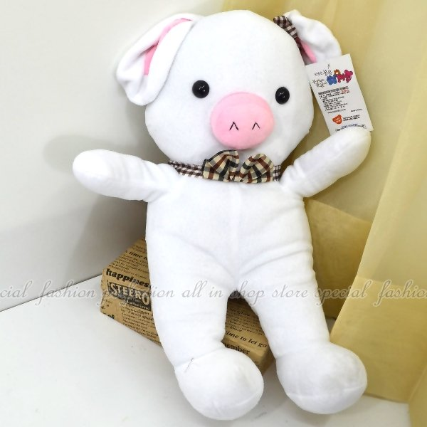 ◎123便利屋◎【DY163】豬兔子玩偶抱枕55cm蝴蝶結款 情人節聖誕生日禮物 張根碩 朴信惠 鄭容和