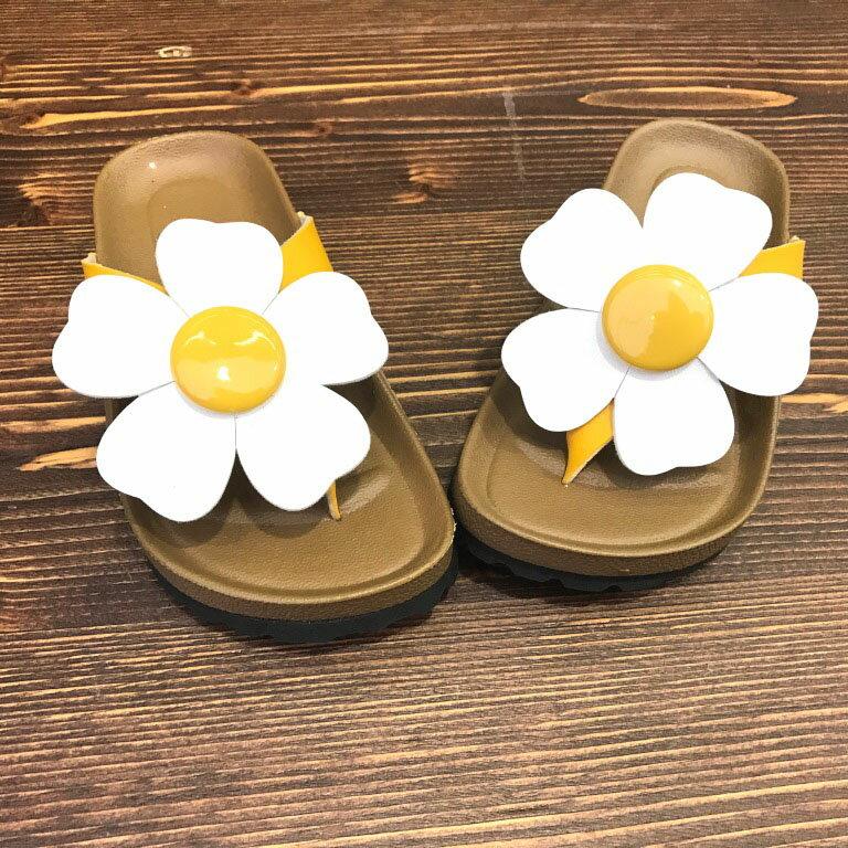 【巷子屋】童款花朵真皮勃肯夾腳拖鞋 [191] 黃 MIT台灣製造 超值價$198