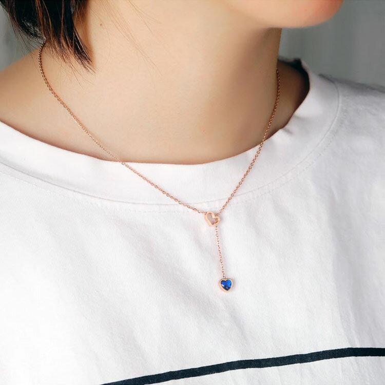 【5折超值價】時尚精美愛心藍鑽造型女款鈦鋼項鍊