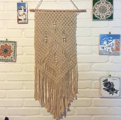 Boho Chic 波西米亞流蘇毛線掛毯 牆壁吊飾 駝色