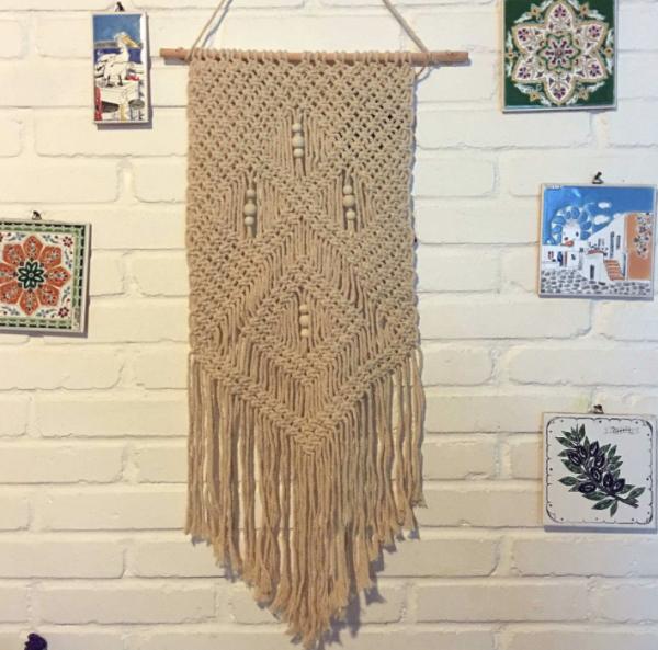 Stacey Boutique:BohoChic波西米亞流蘇毛線掛毯牆壁吊飾駝色