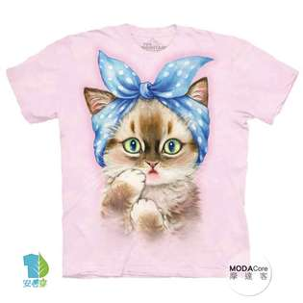 【摩達客】(預購)美國進口TheMountain圓點髮帶貓純棉環保藝術中性短袖T恤