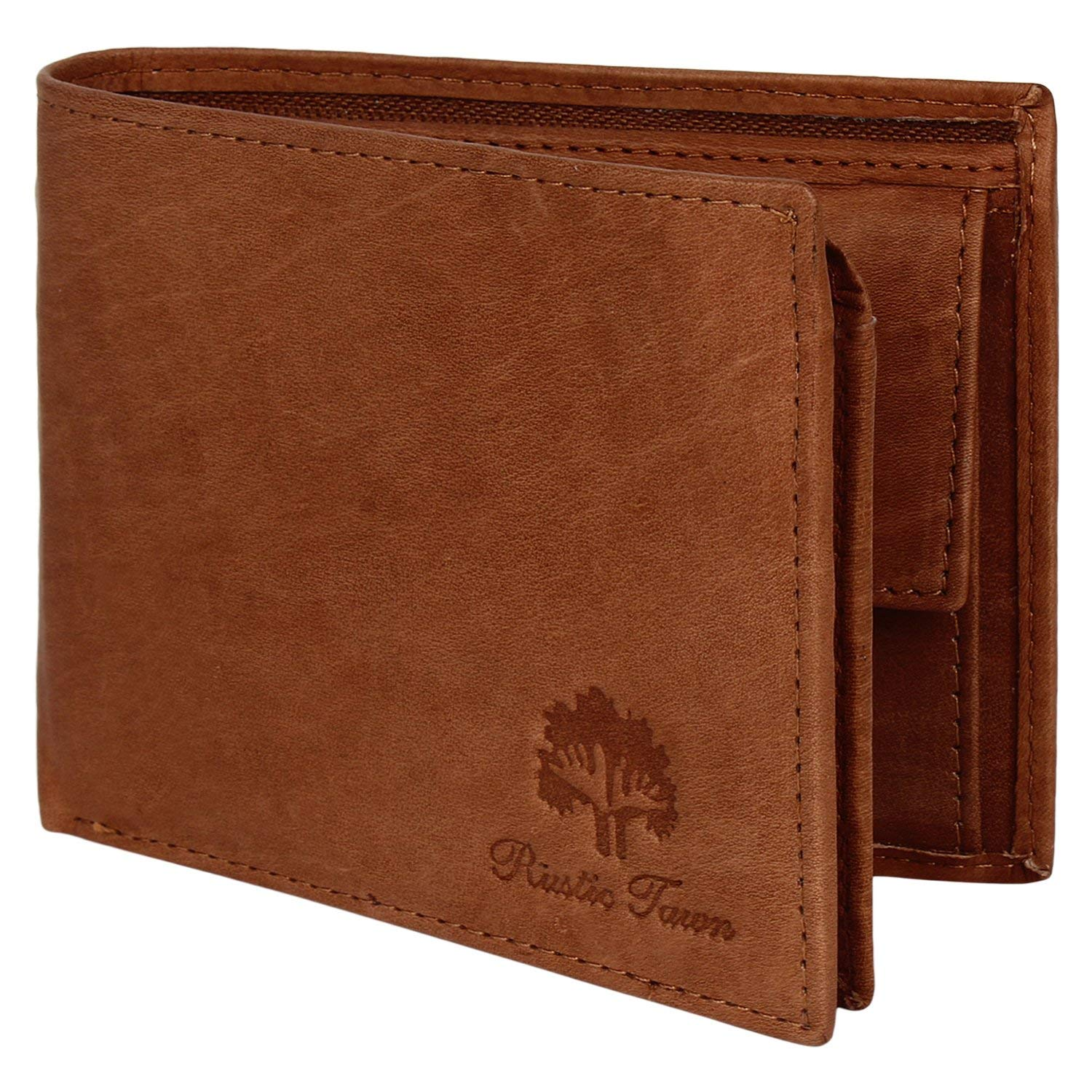 c6a070beee85b Mens Wallet Leather Bifold - Genuine Leather RFID Blocking Bifold Wallet  With Coin Pocket (Cognac