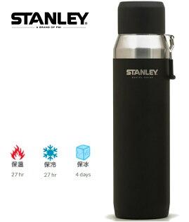 Stanley大師系列真空保溫瓶不鏽鋼保溫水壺提把款1L黑10-03106