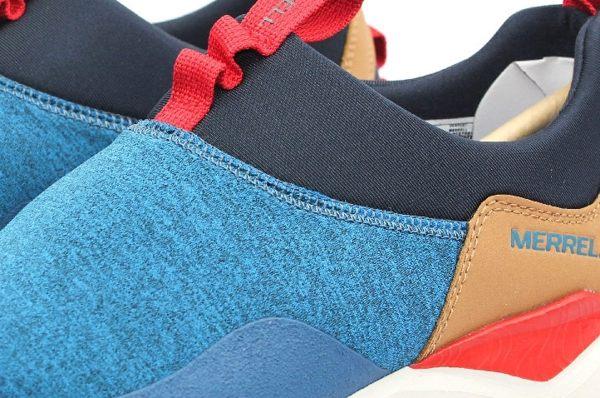 MERRELL 都會休閒款 避震氣墊 舒適耐走 直套式 免綁鞋帶 藍/卡其 男款 8