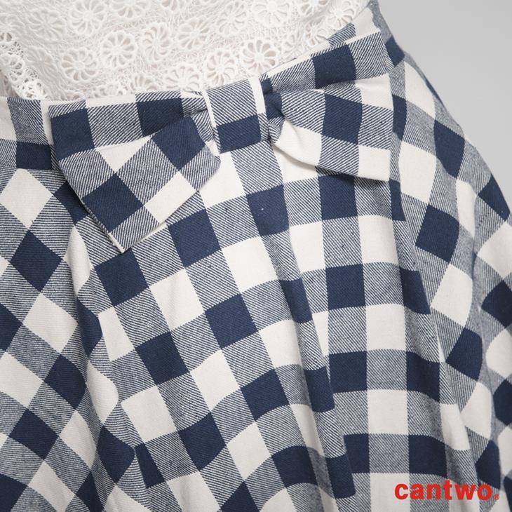 cantwo復古雙色格紋蝴蝶結短裙(共三色) 4