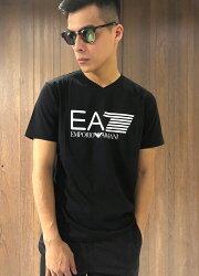 美國百分百【全新真品】Emporio Armani EA7 V領 短袖 T恤 logo T-shirt 黑色 J010