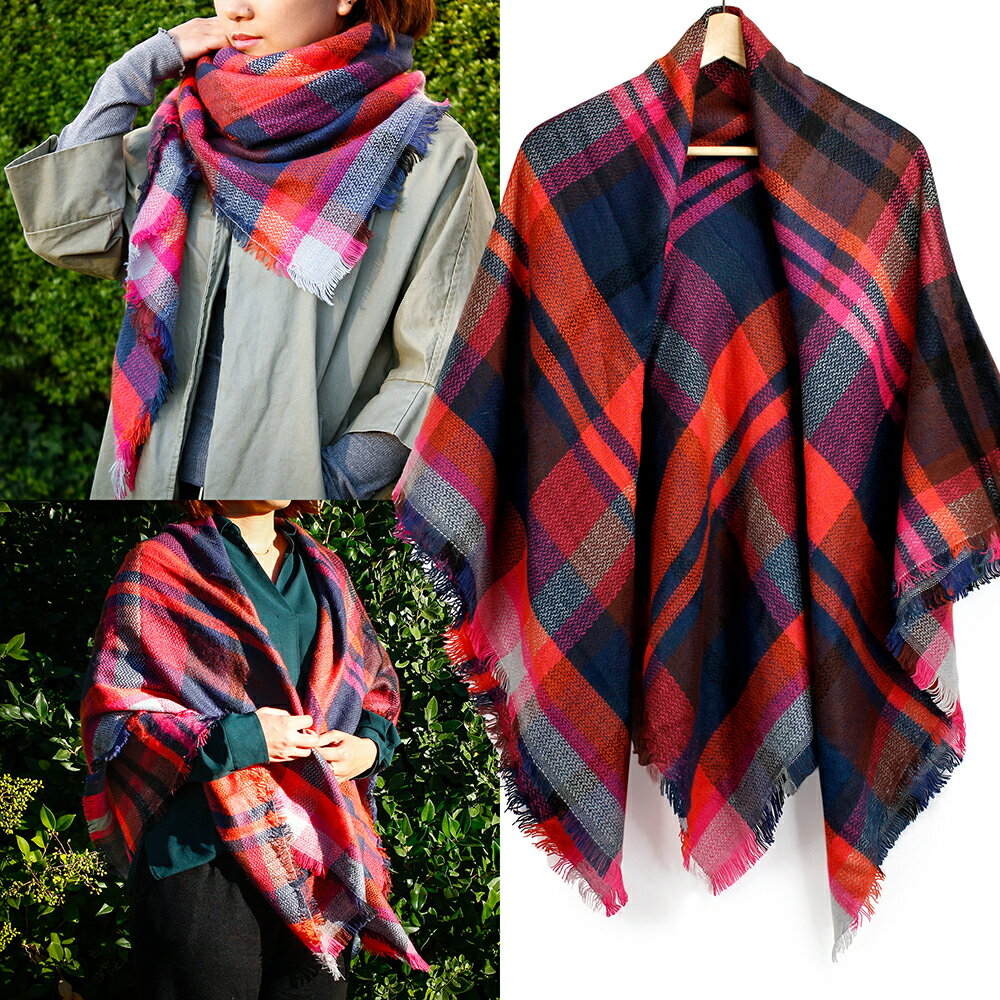 Women Plaid Scarf Tartan Wrap Lattice Large Warm Cozy Blanket Soft Shawl Checked Winter Scarfs for Women 4
