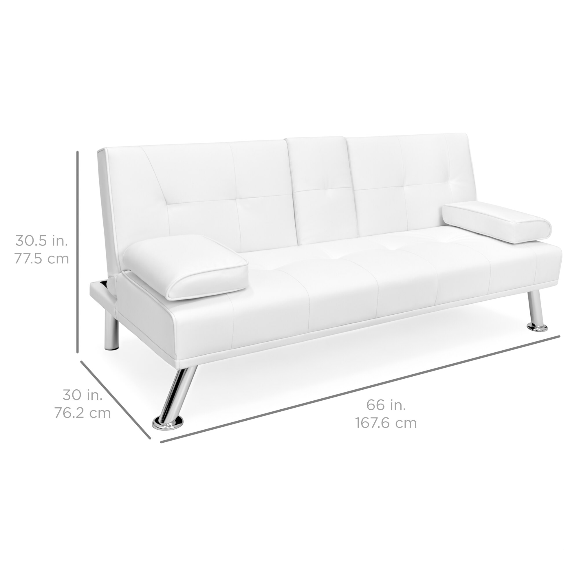 BestChoiceProducts: Best Choice Products Modern Faux Leather Convertible  Futon Sofa Bed Recliner Couch w/ Metal Legs, 2 Cup Holders - White | ...