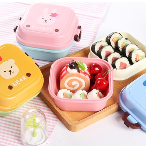 《波卡小姐》雙層可微波!日系可愛便當盒 水果點心保鮮盒 學生兒童卡通動物分層午餐盒 野餐露營餐具 保溫飯盒[FD-S021]