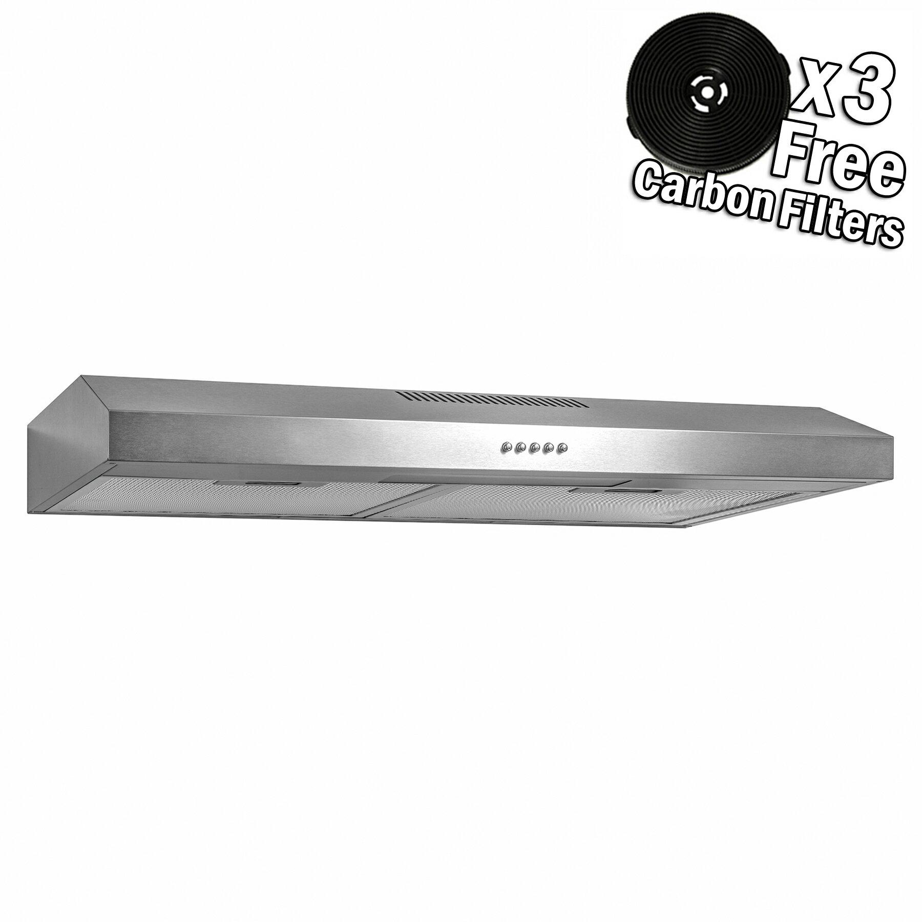 Akdy 30 Under Cabinet Stainless Steel Push Panel Kitchen Range Hood Cooking Fan W