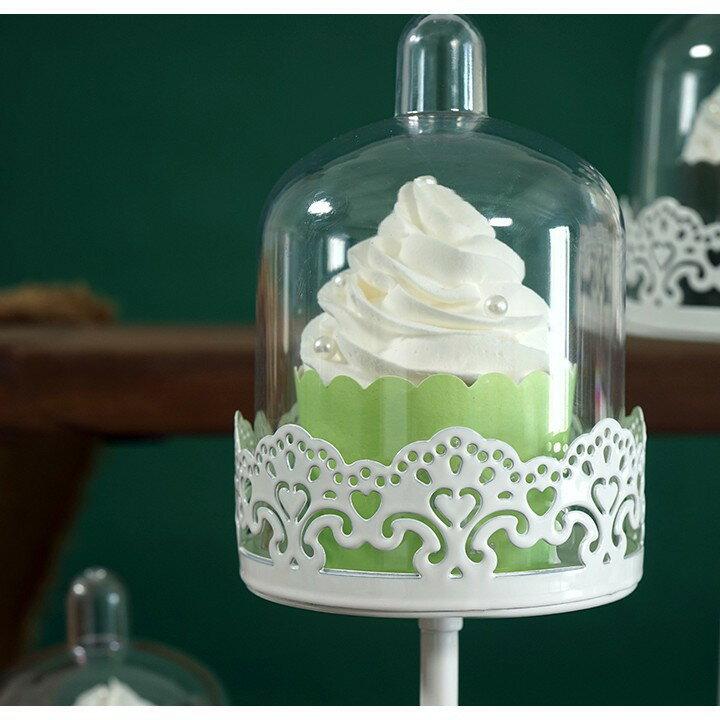帶罩子鐵藝點心架 歐式蛋糕架婚慶道具 甜品臺擺件迷你杯子蛋糕盤 艾琴海小屋