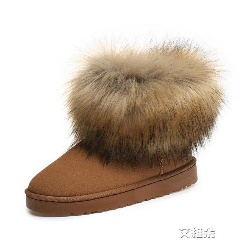 毛雪地靴加絨加厚棉鞋女鞋休閒保暖短筒靴 清涼一夏钜惠
