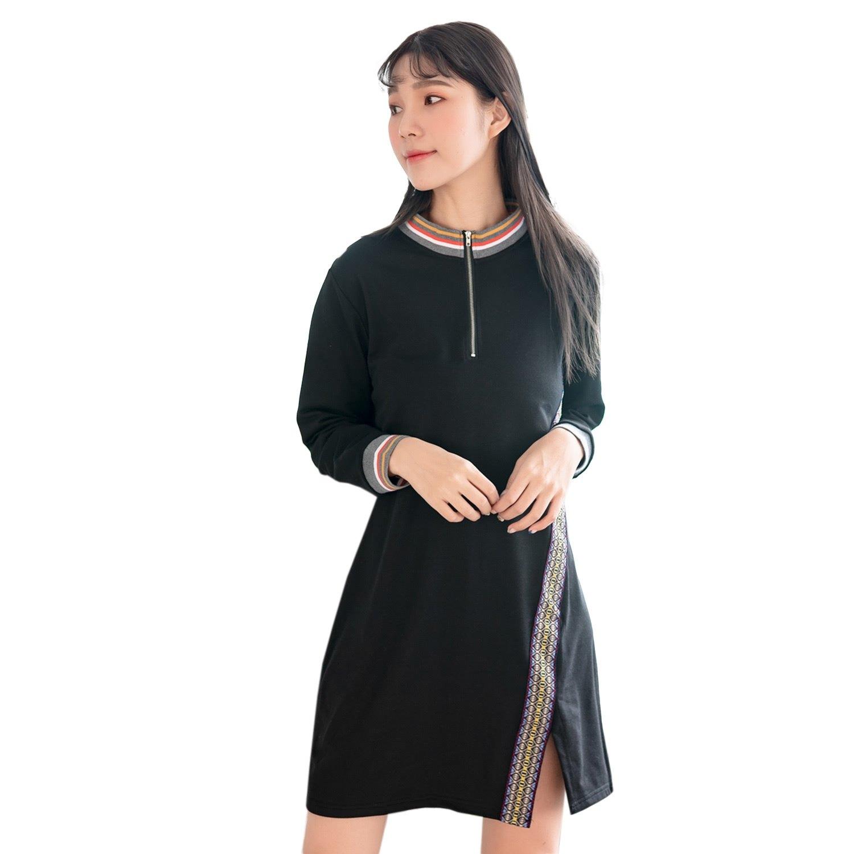 氣質洋裝--民族風刺繡羅紋開衩寬鬆修身拉鍊領口長袖連衣裙(黑.灰L-3L)-A349眼圈熊中大尺碼 0