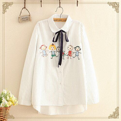 *ORead*刺繡棉布繫帶蝴蝶結寬鬆襯衫(2色F碼) 2