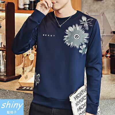 shiny藍格子:【Y166】shiny藍格子-簡約港風.秋冬修身圓領印花長袖上衣