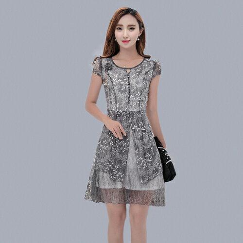 碎花中長款短袖雪紡A字連身裙 (3色,~M~4XL) - ORead 自由風格